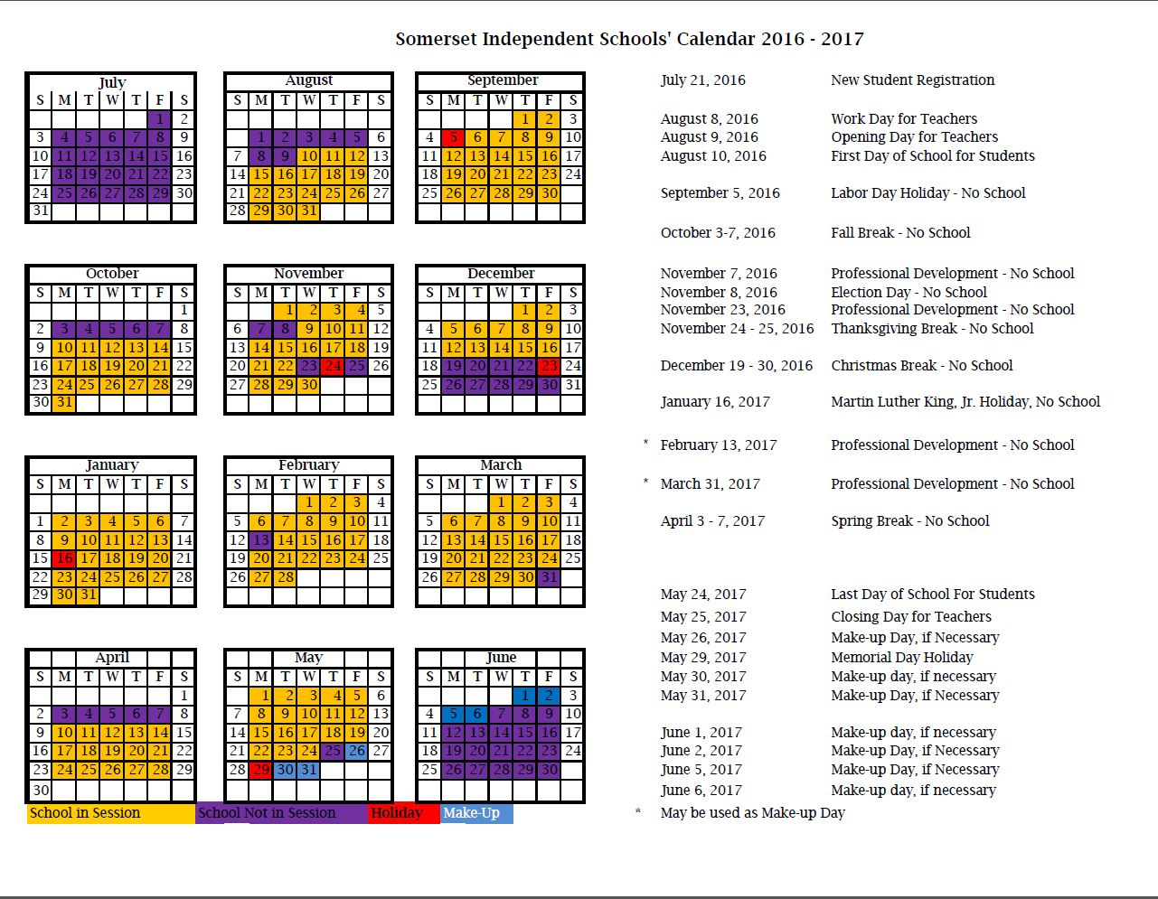 Revised calendar for 2017-2017