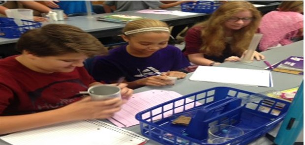 Students engaged in science project