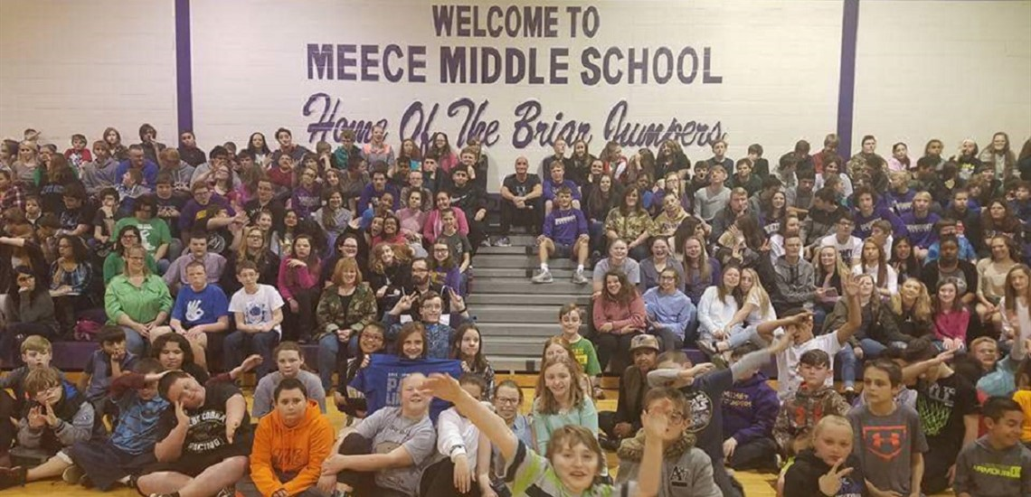 Rex Chapman, former University of Kentucky basketball player and NBA standout, visits Meece Middle School