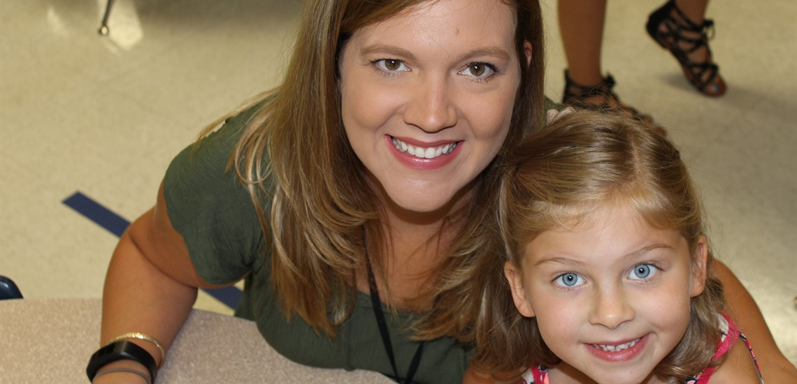 Natasha  and daughter Ellie are all smiles on the first day of school!