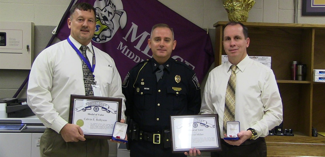 Mr. Rollyson & Mr. Miller Received the Medal of Valor from Police Chief William Hunt