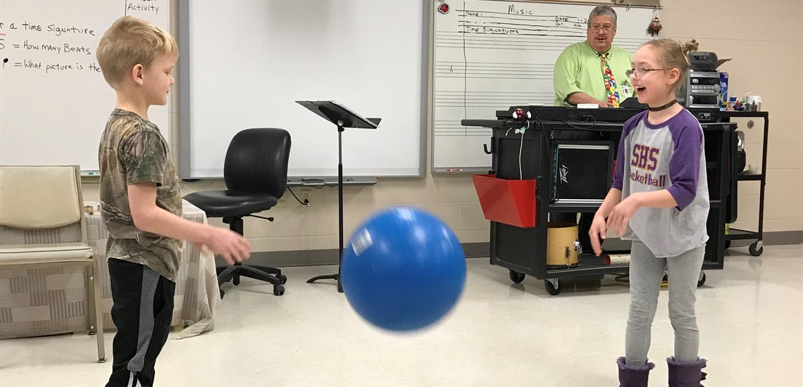 Students made meter by bouncing the ball! We love music!